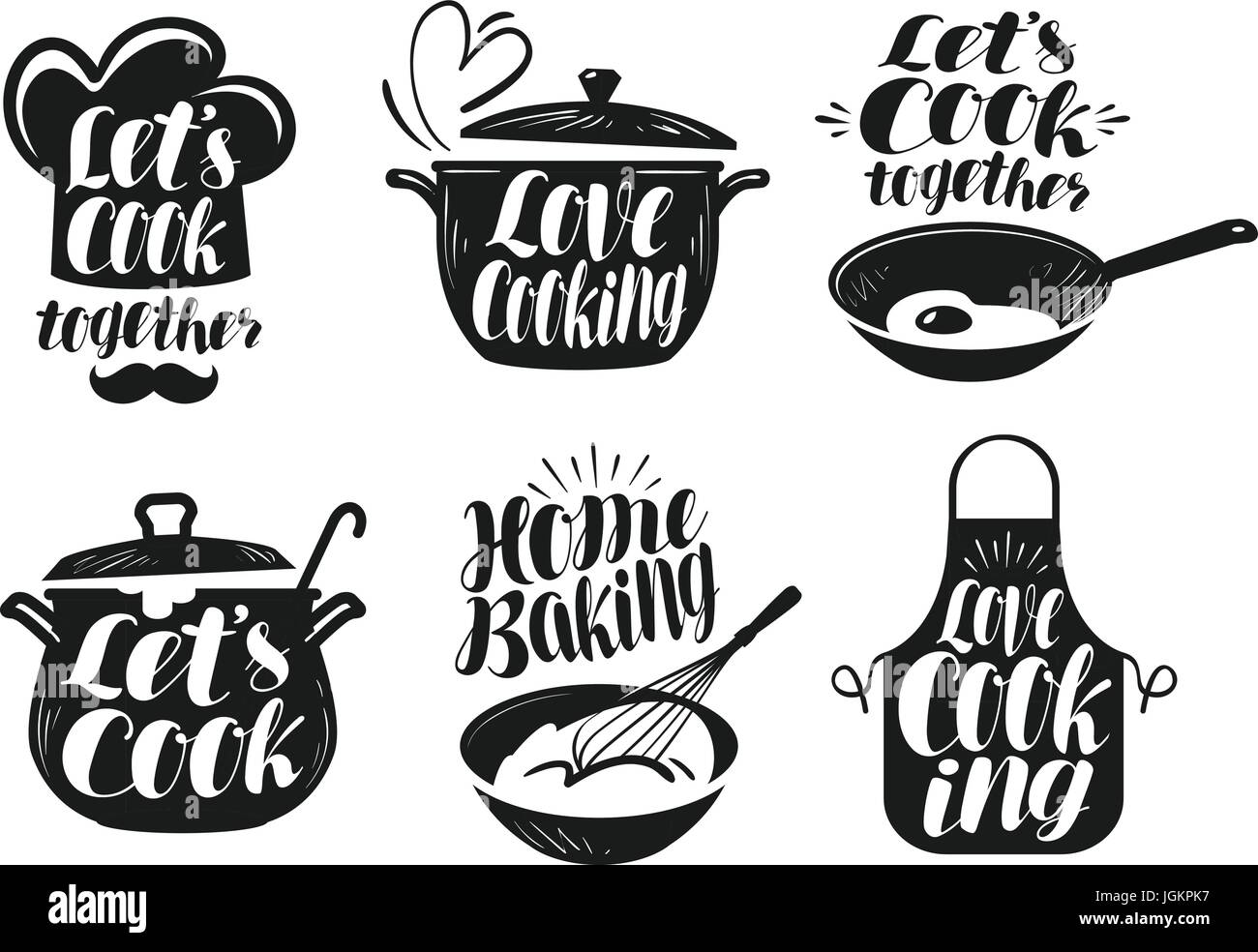 Cooking cookery cuisine label set cook chef kitchen for Art and cuisine ceramic cookware
