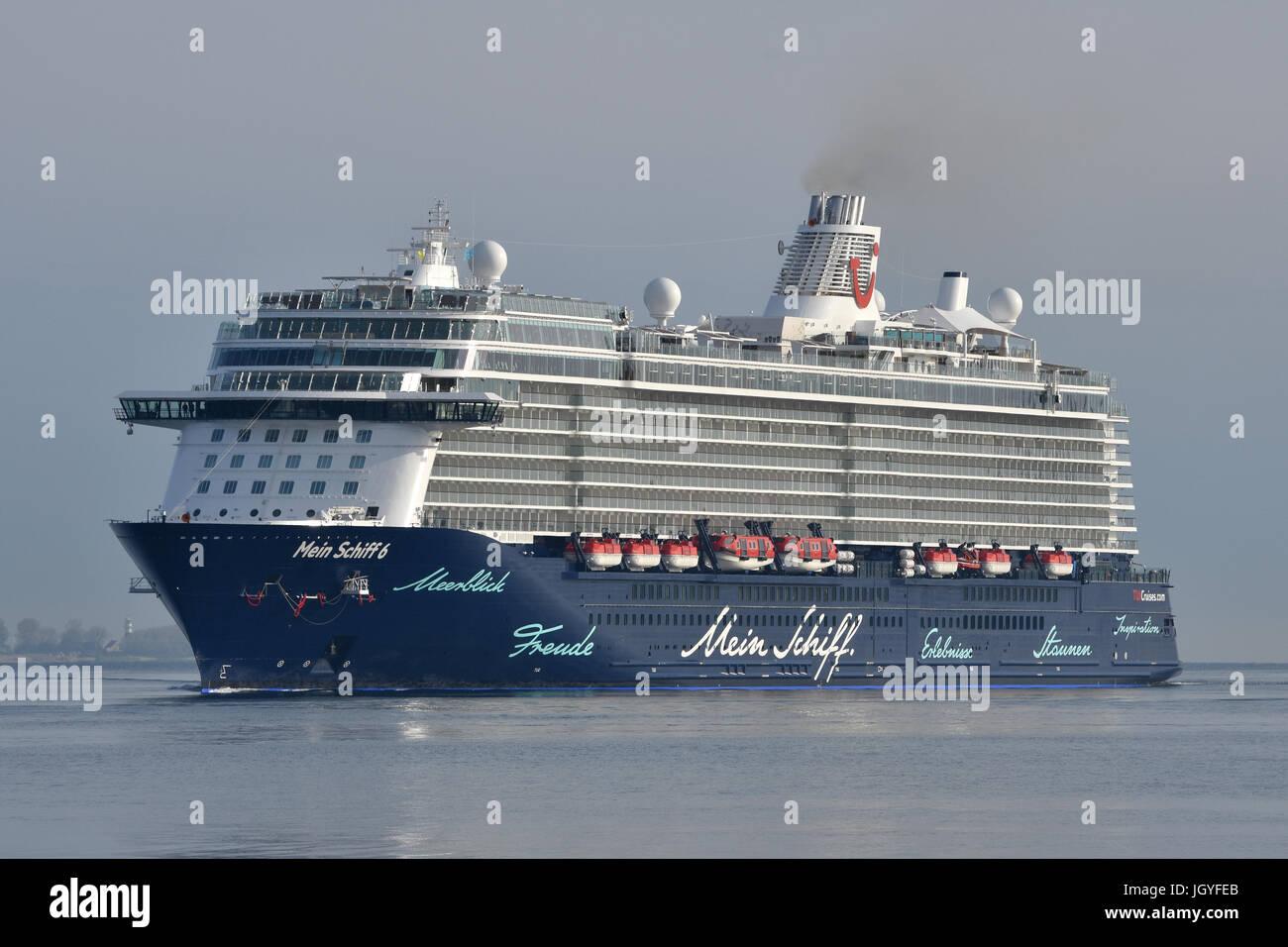 Mein Schiff 6 inbound for Kiel Stock Photo