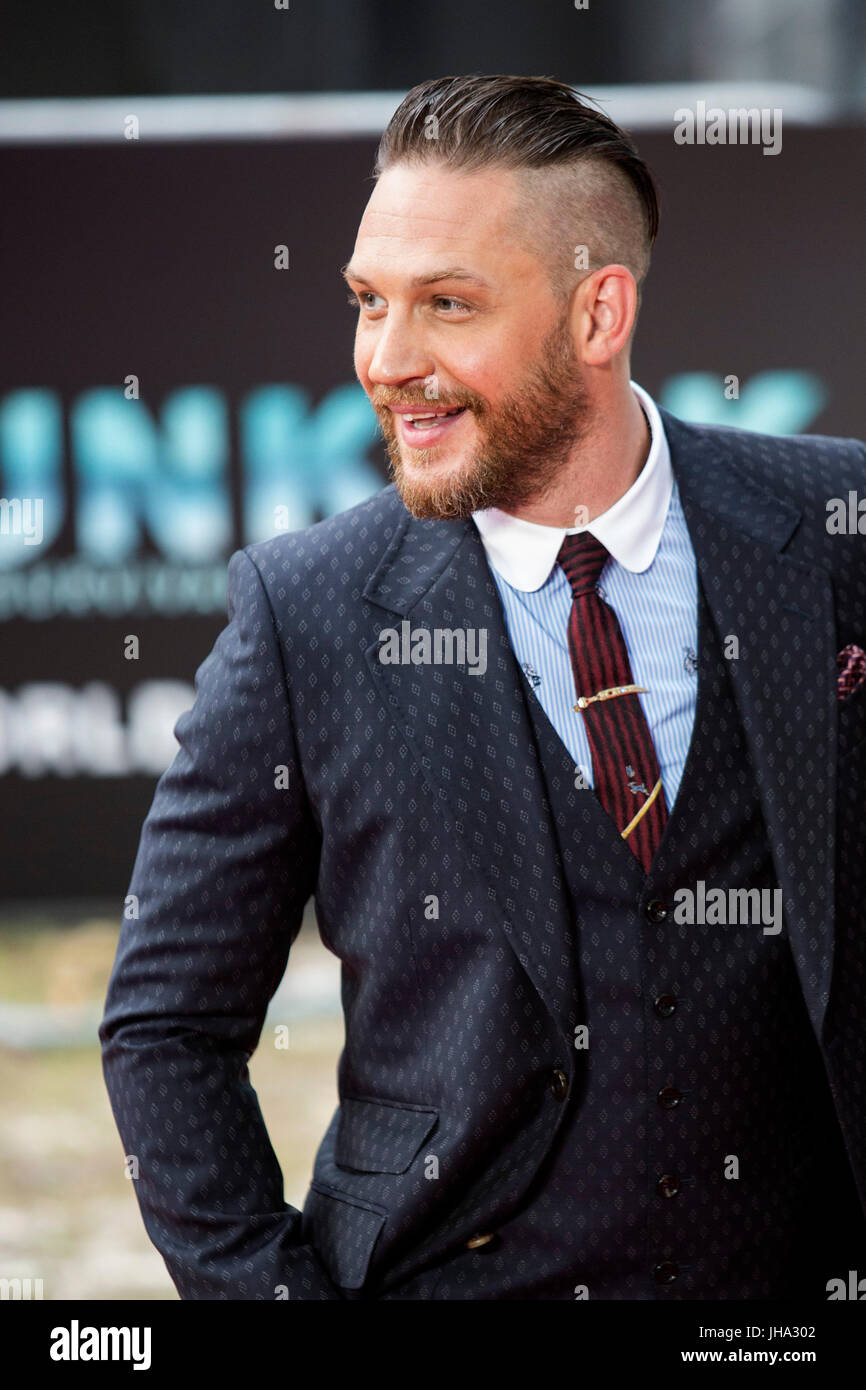 London, UK. 13 July 2017. Actor Tom Hardy arrives for the World Premiere of the Christopher Nolan film Dunkirk in Stock Photo