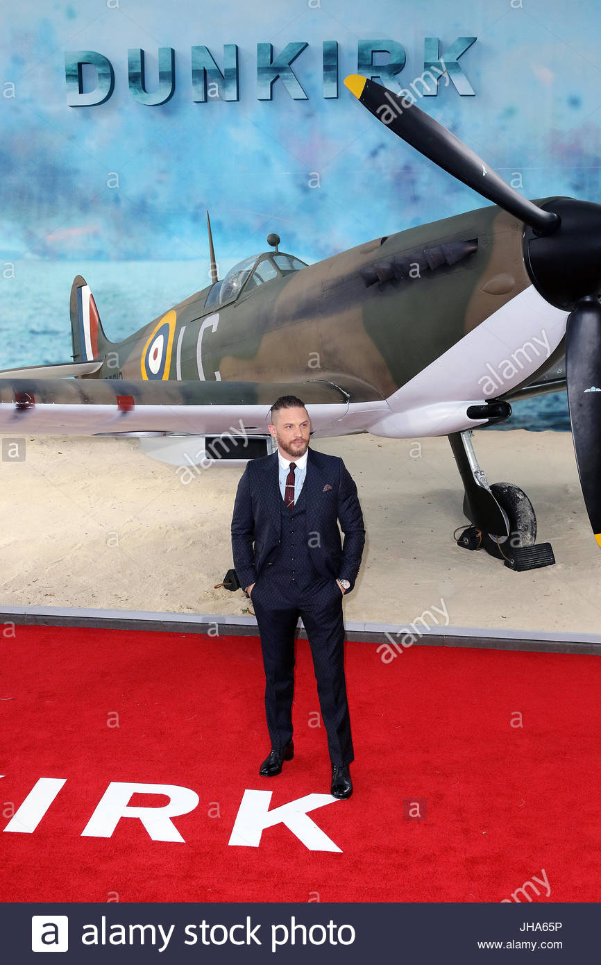 London, UK. 13th July, 2017. Tom Hardy attends the 'Dunkirk' World Premiere at Odeon Leicester Square on July 13, Stock Photo