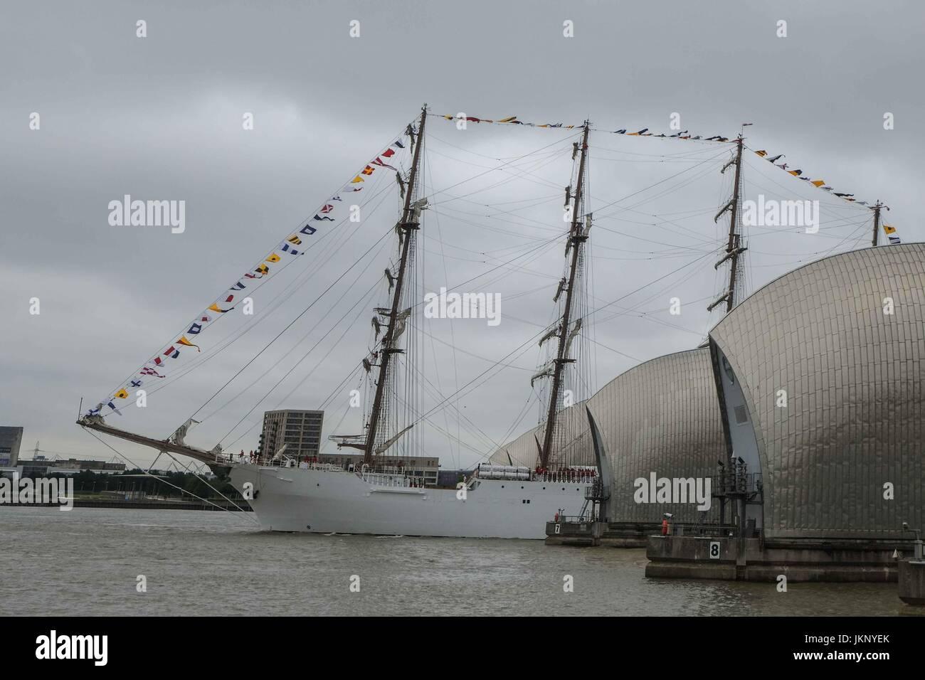 London, UK  24th July 2017. 115 metre long Peruvian Navy training ship, BAP Union, Passes through the Thames Barrier Stock Photo