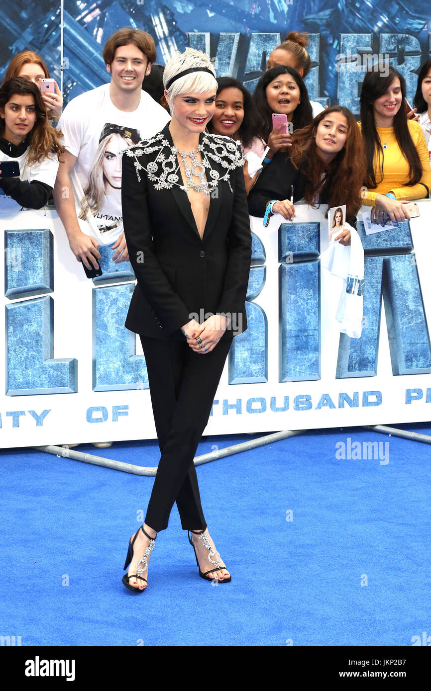 London, UK. 24th July, 2017. Cara Delevingne, Valerian and The City of a Thousand Planets - European film premiere, Stock Photo