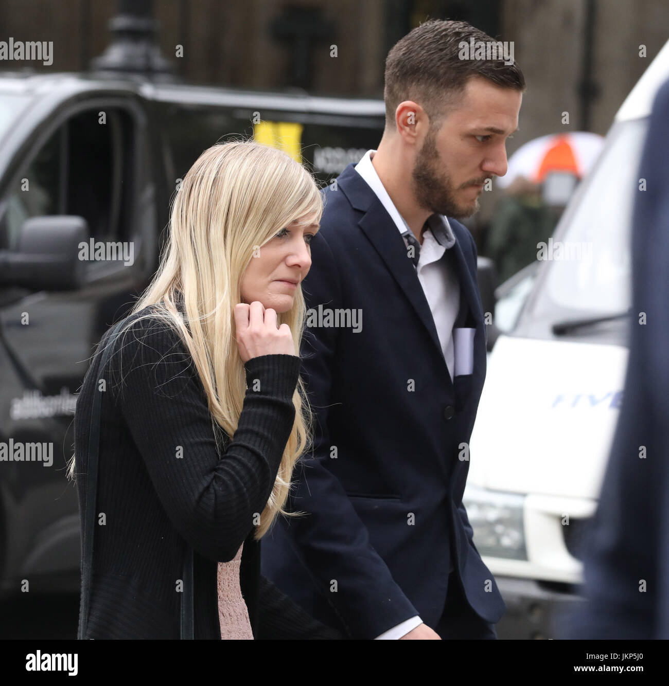 London, UK. 24th July, 2017. Pic shows:  24.7.17High Court LondonCharlie Gard parents Connie Yates and Chris Gard Stock Photo