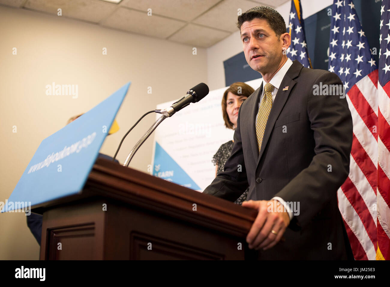 Washington, USA. 25th July, 2017. U.S. House Speaker Paul Ryan (Front) speaks at a press conference on Capitol Hill Stock Photo