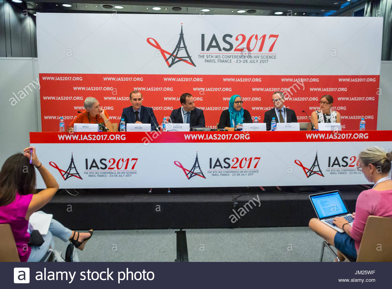 Paris, France., Medical News Press COnference, Efficiency of PrEP IPERGAY Lab Trial, I.A.S. International AIDS Society - Stock Image