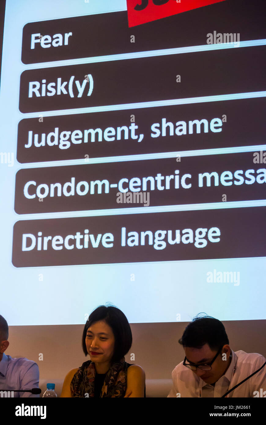 Paris, France. HIV Prevention Keywords in Chicago, PrEP,  I.A.S. International AIDS Society Congress, - Stock Image