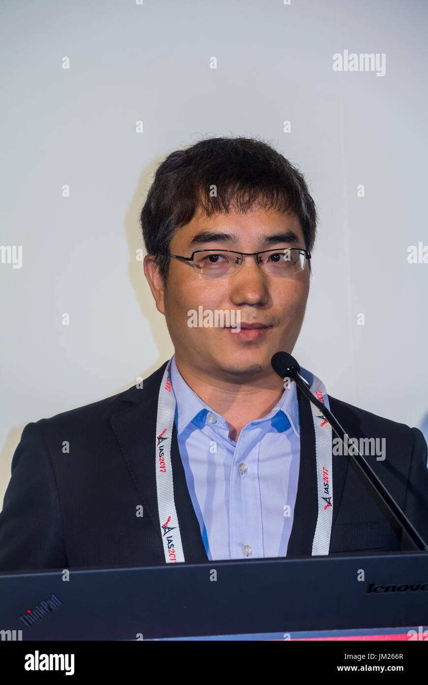 Paris, France. I.A.S. International AIDS Society Congress, Guodong Mi, Blued (Gay APP), China - Stock Image