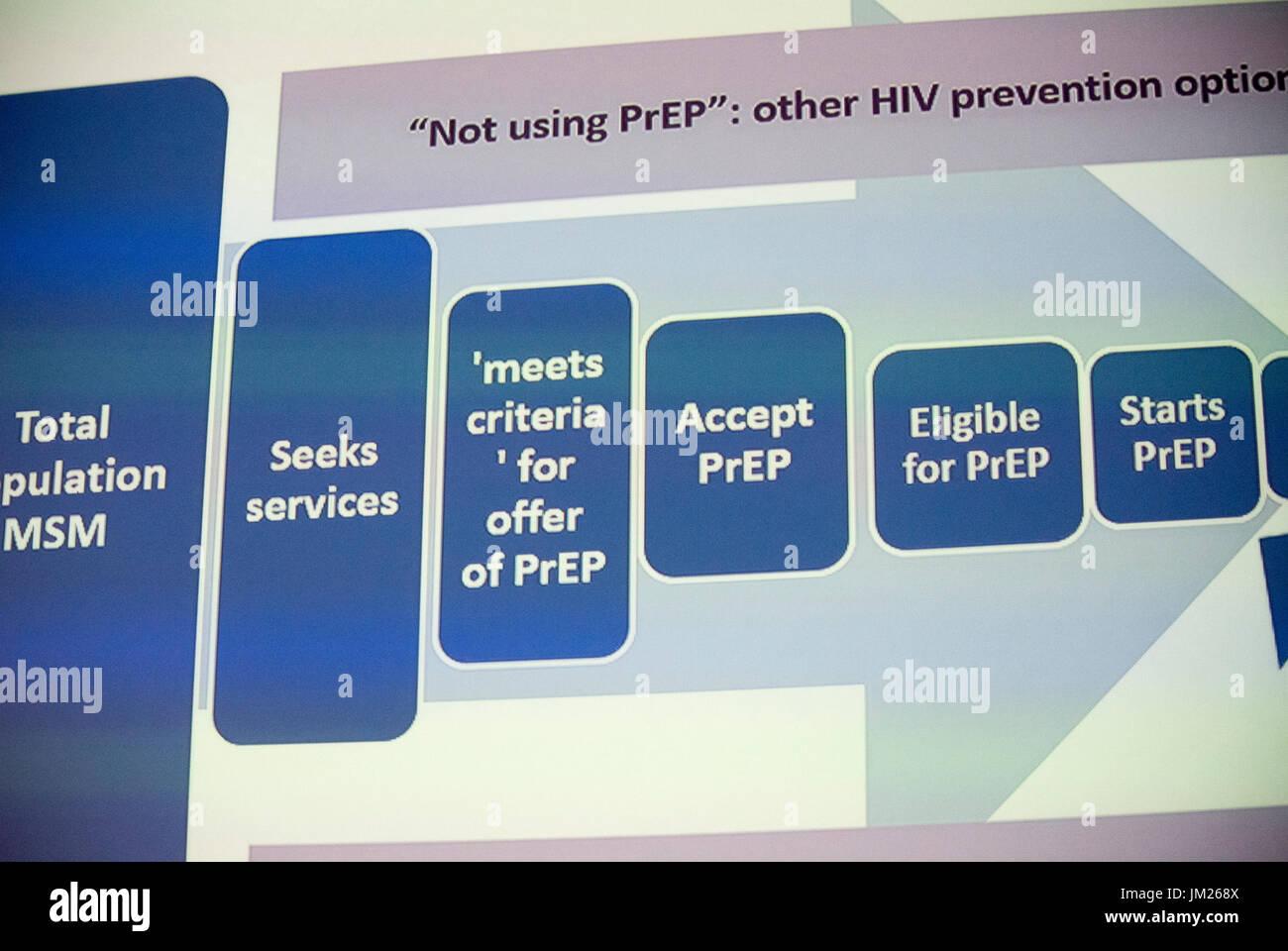 Paris, France. Health Care Slide, PrEP Cascade in U.K.  I.A.S. International AIDS Society Congress, - Stock Image