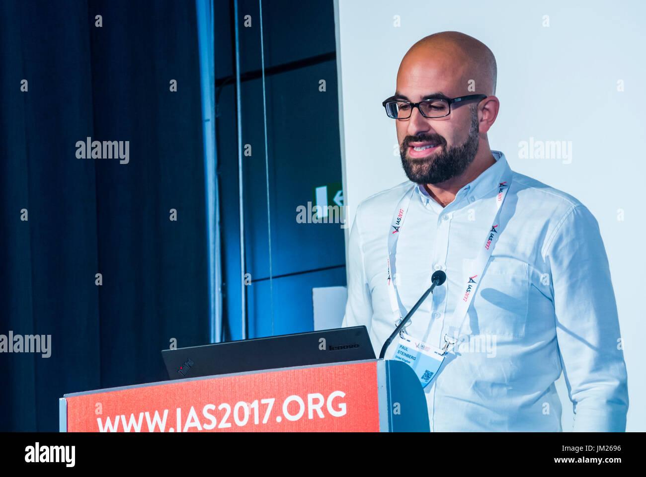 Paris, France. I.A.S. International AIDS Society Congress, Paul Steinberg, London HIV Prevention program, speaking - Stock Image