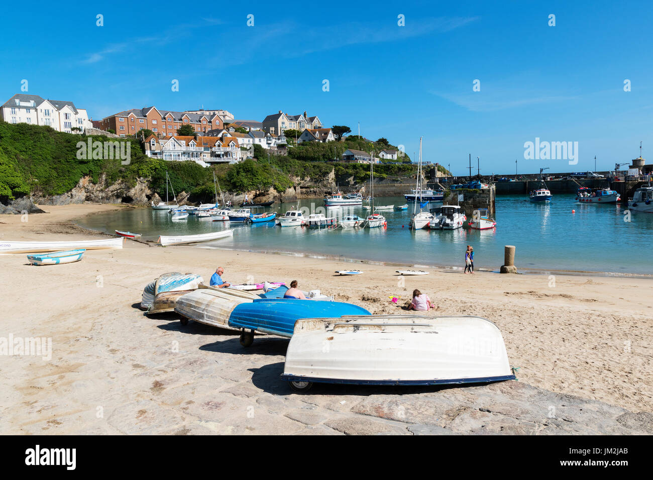the harbour at newquay in cornwall, england, uk. - Stock Image