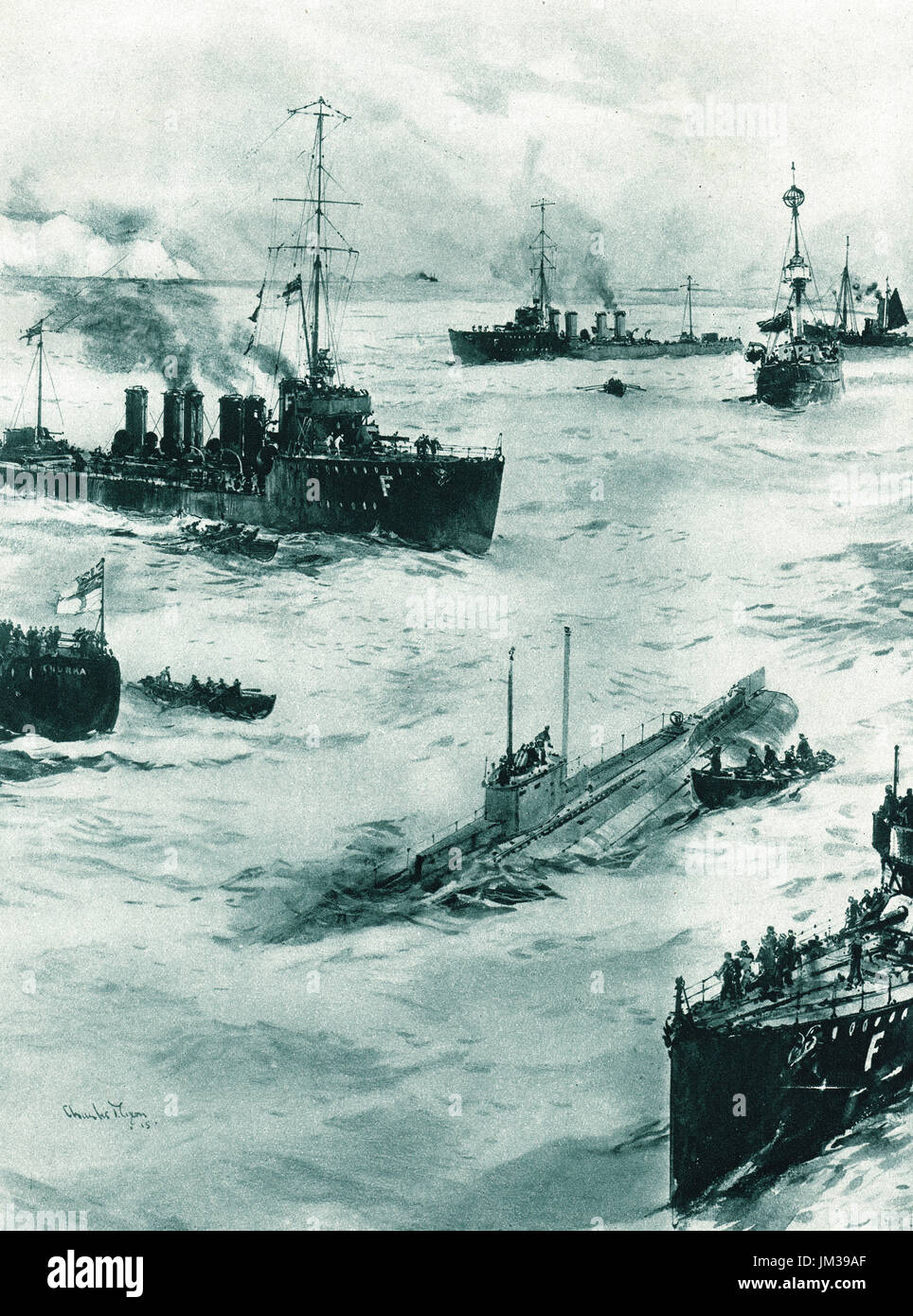 Sinking of U8 off Dover in March, 1915 - Stock Image