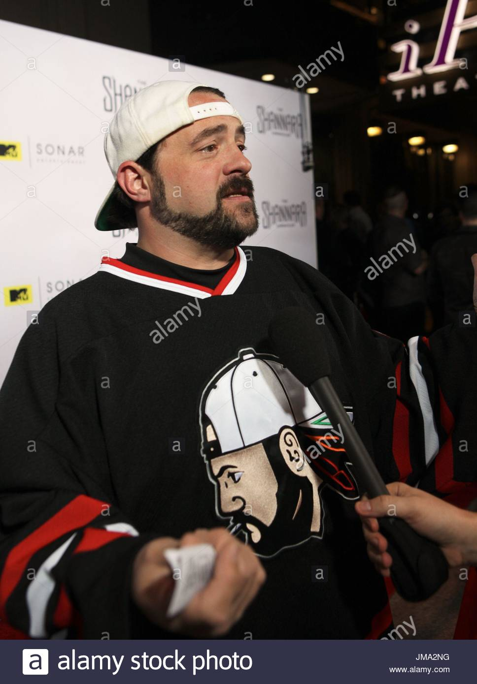 Kevin Smith. Arrivals at the series premiere party for 'The Shannara Chronicles' On MTV at iPic Theaters - Stock Image