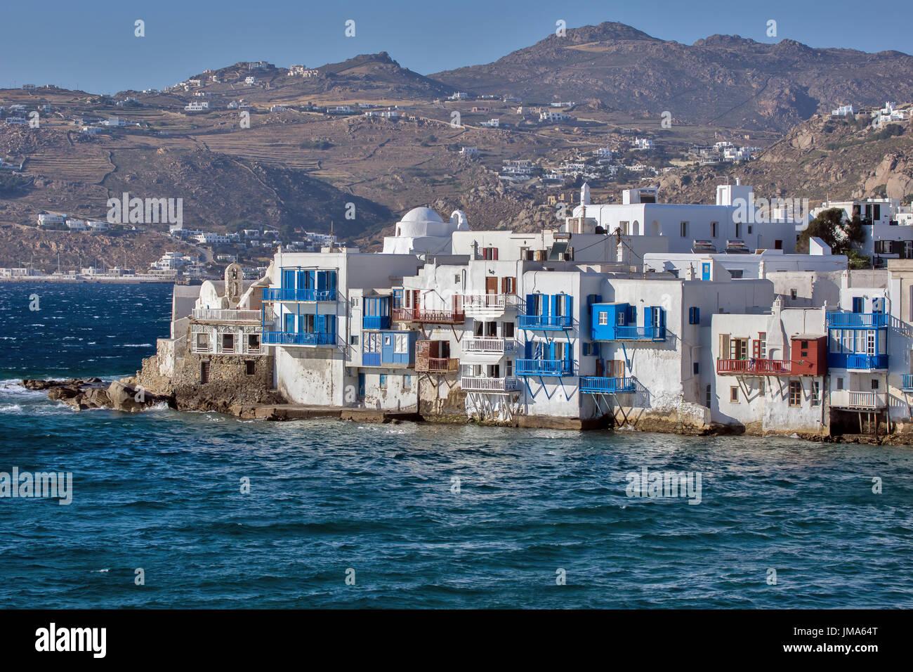 Beautiful Tables Greece Cyclades Islands Mykonos Restaurant Stock Photos