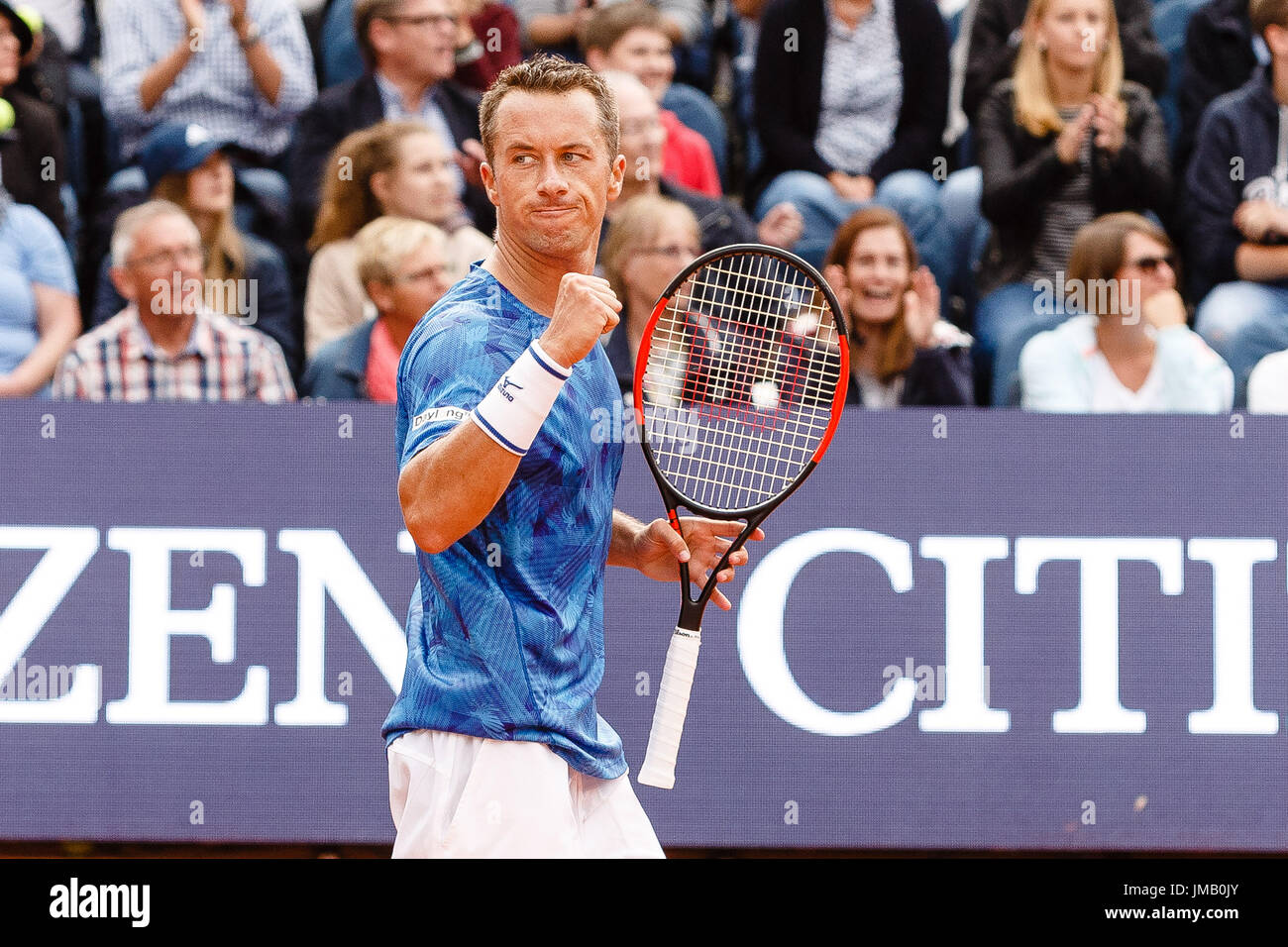 Hamburg, Germany, 27th July 2017: German tennis player Philipp Kohlschreiber in action during his 2nd round victory - Stock Image