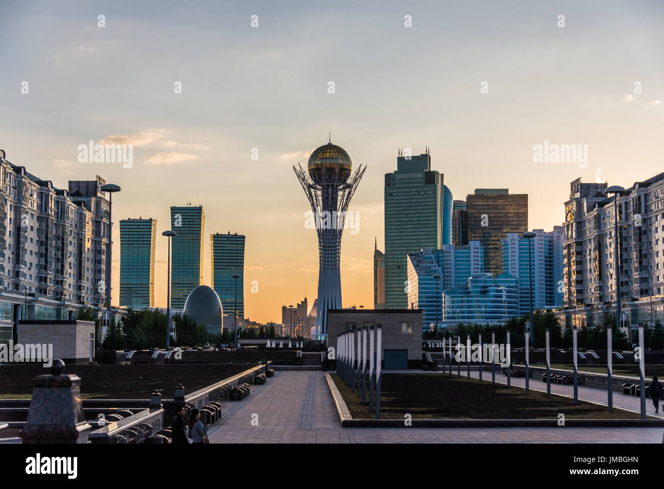 View of the Bayterek Tower in Astana Kazakhstan - Stock Image