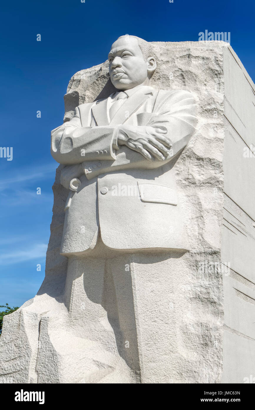 The emotional close up of the MLK statue at the national mall in Washington DC. - Stock Image