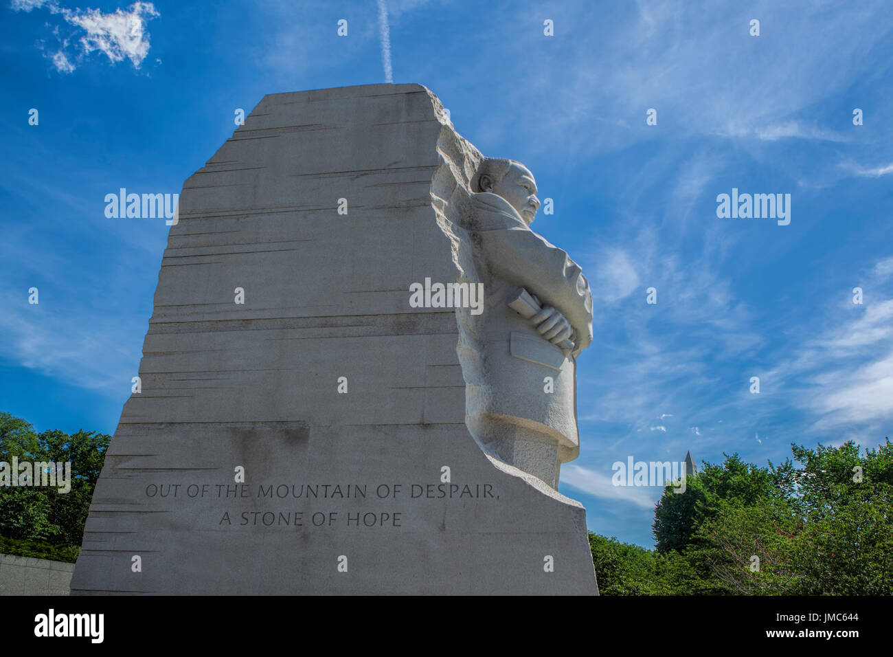 The emotional side view of the MLK jr. statue in Washington DC. - Stock Image