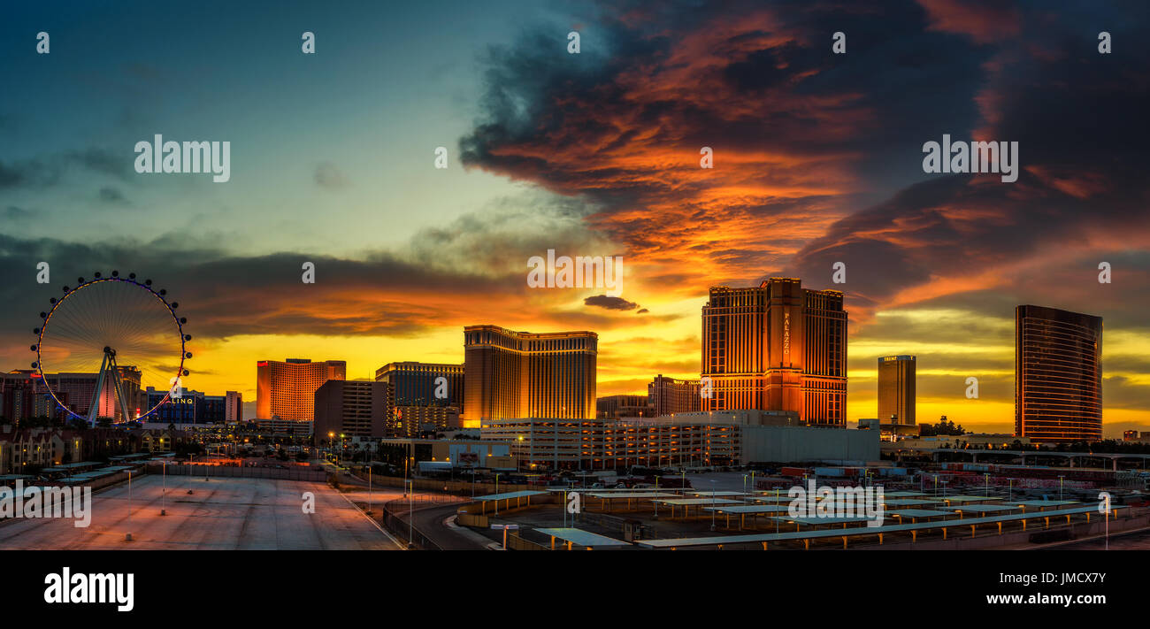 Sunset panorama above casinos on the Las Vegas Strip - Stock Image