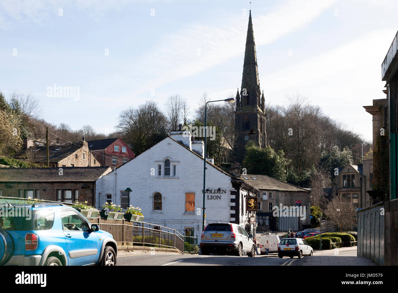 Rochdale Road and the Golden Lion, Todmorden, West Yorkshire - Stock Image