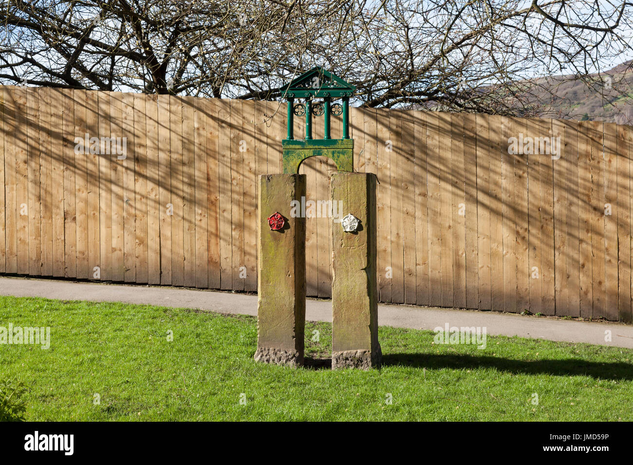 Marker post for the historic border between Lancashire and Yorkshire, Todmorden, West Yorkshire - Stock Image