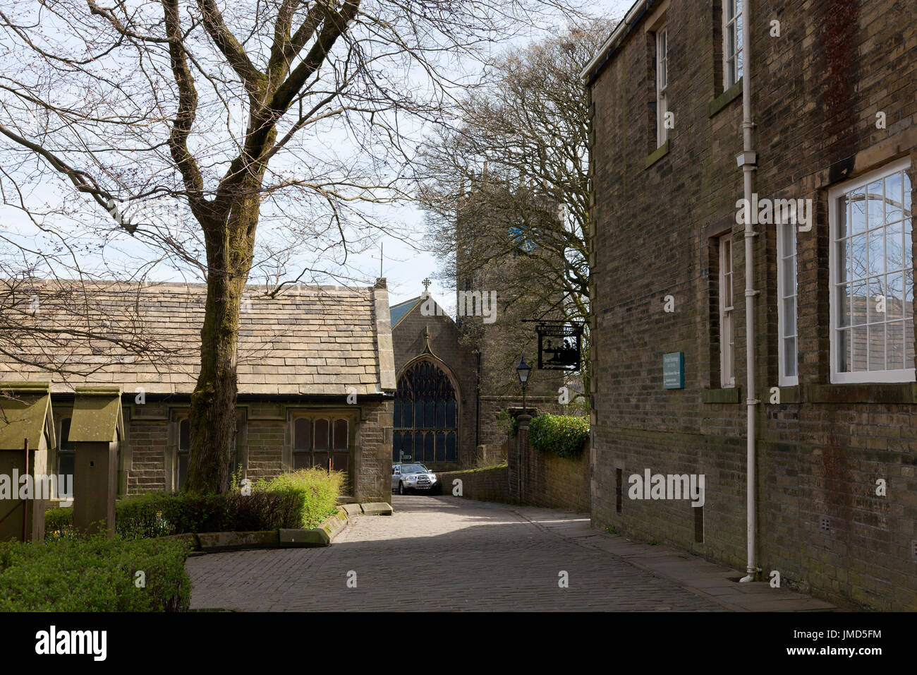 Brontë Parsonage, church and old school house, Haworth, West Yorkshire - Stock Image
