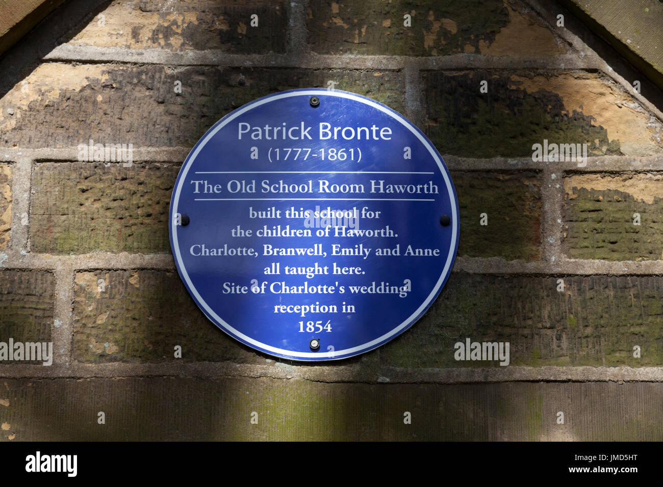 Plaque for Patrick Brontë on the Old School House, Haworth, West Yorkshire - Stock Image