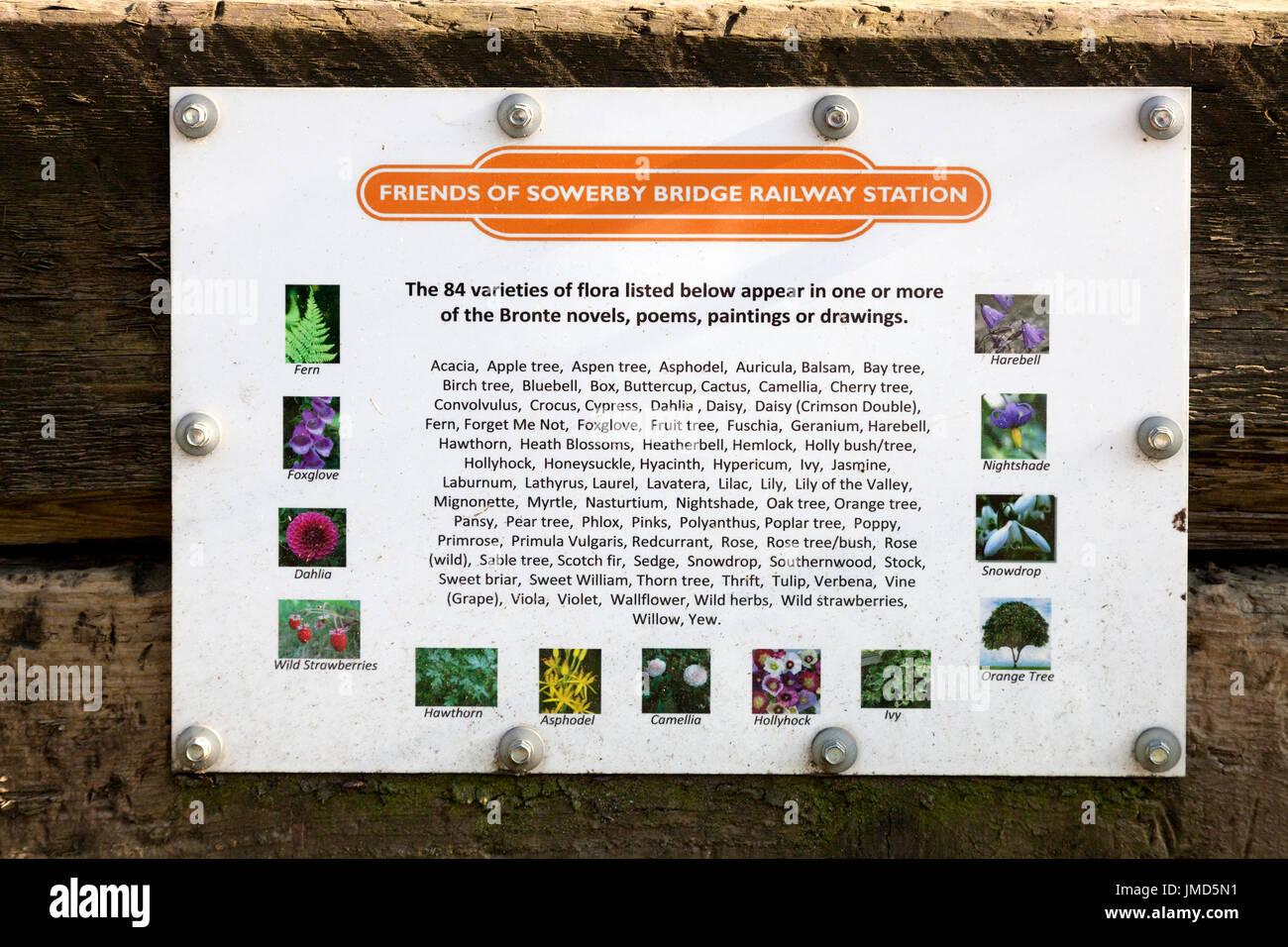 Plaque in the Brontë Garden, Sowerby Bridge, West Yorkshire - Stock Image