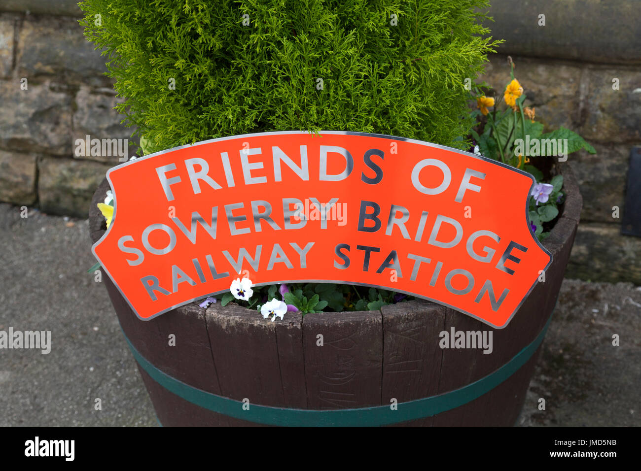 Friends of Sowerby Bridge Railway Station sign, West Yorkshire - Stock Image