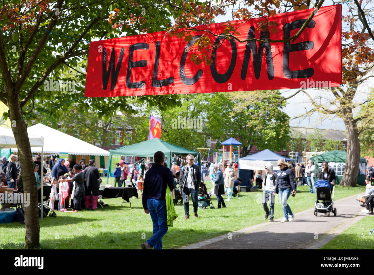Welcome sign at the Celebrate Festival, Whalley Range, Greater Manchester - Stock Image