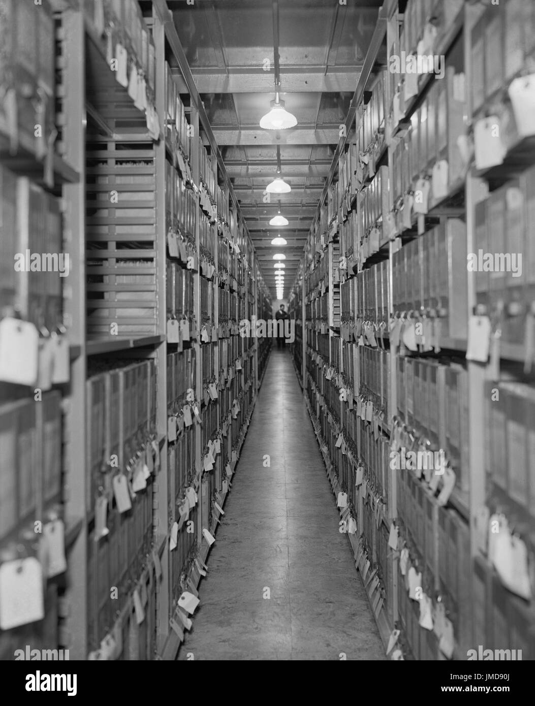 Aisle of Files, Division of War Department, National Archives, Washington DC, USA, Harris & Ewing, 1939 - Stock Image