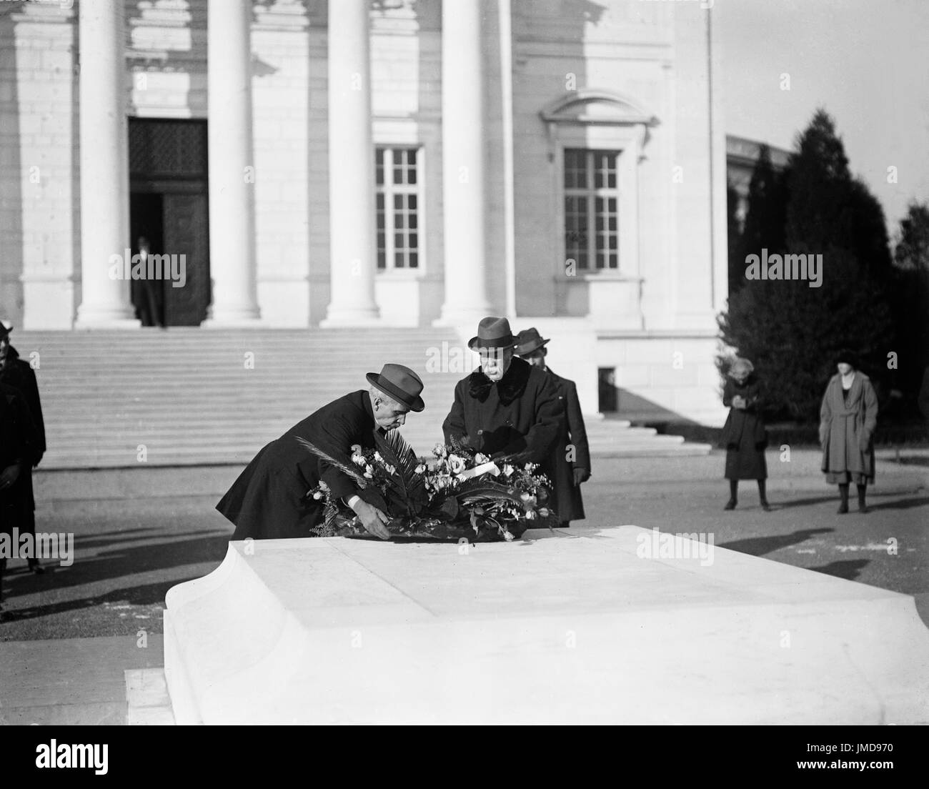 Georges Clemenceau Placing Wreath on tomb of the Unknown Soldier, Arlington National Cemetery, Arlington, Virginia, - Stock Image