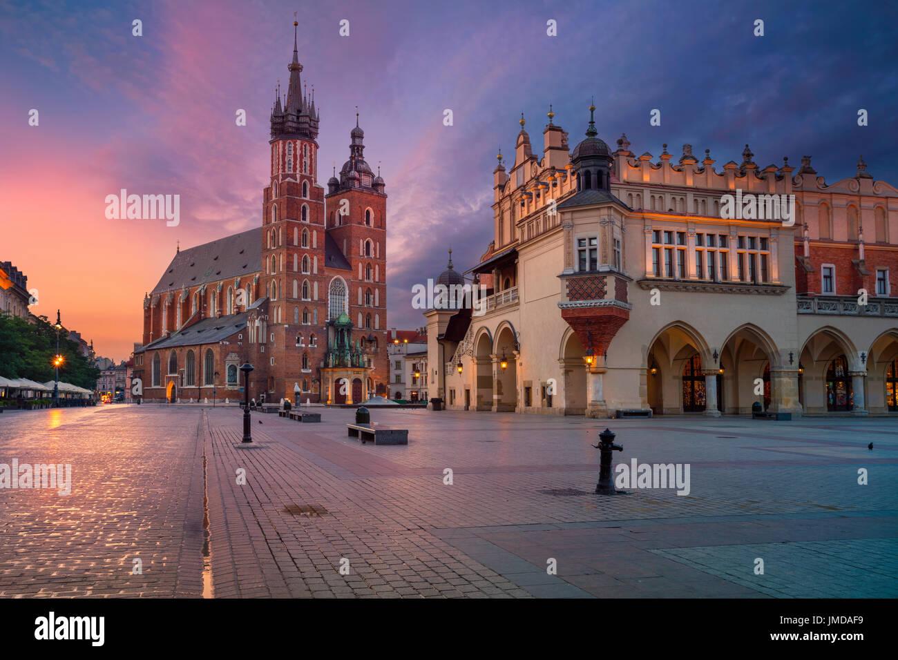 Krakow. Image of old town Krakow, Poland during sunrise. - Stock Image