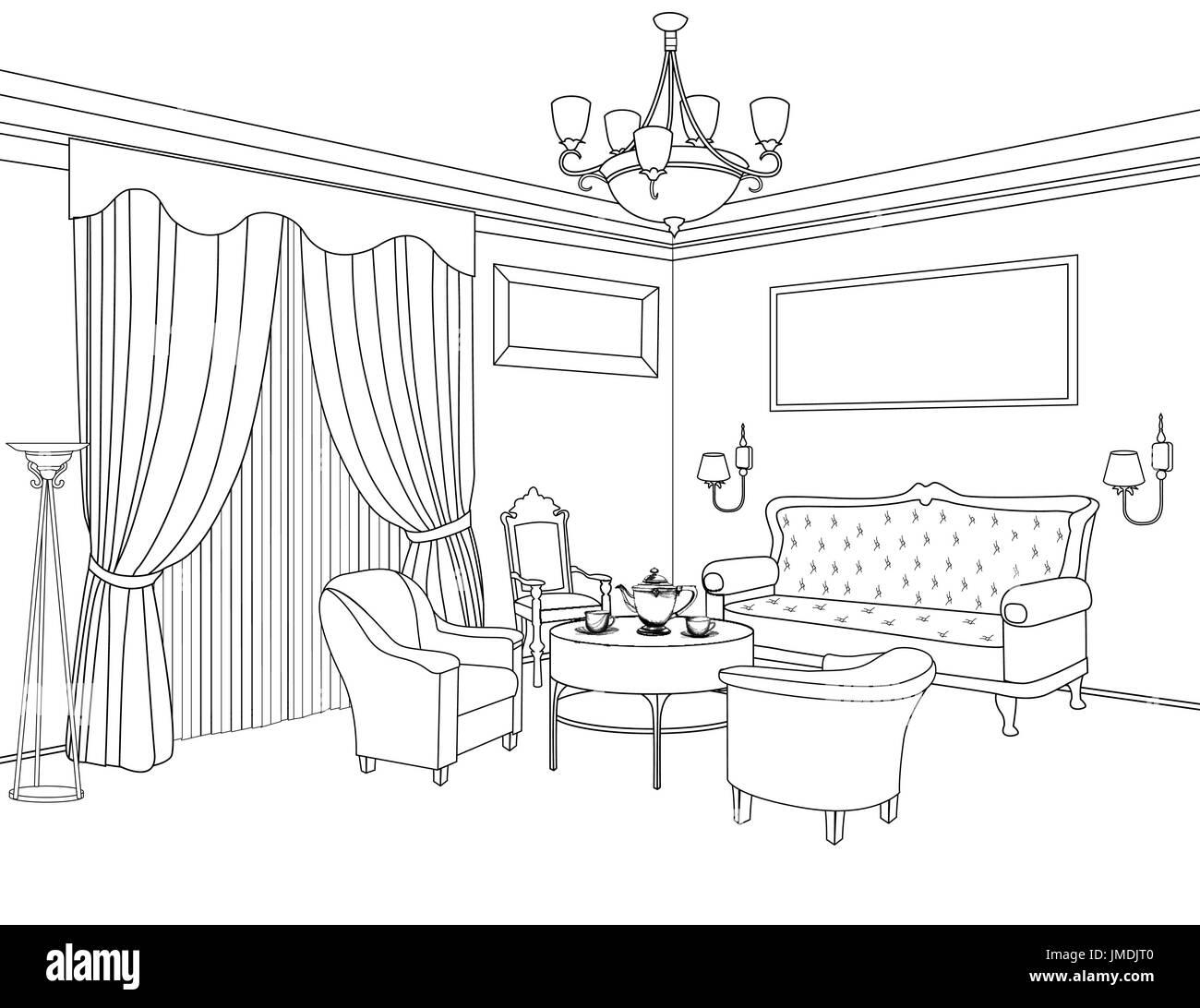 Vintage architectural drawing stock photos vintage for Living room interior design sketch