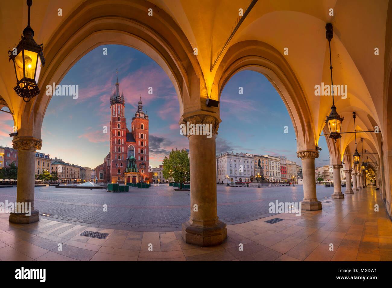 Krakow. Image of Krakow Market square, Poland during sunrise. - Stock Image