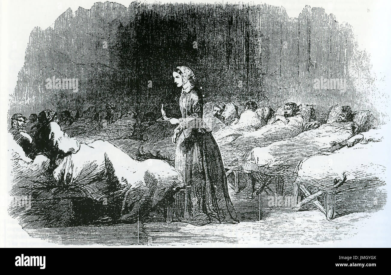 FLORENCE NIGHTINGALE (1820-1910) nurse and social reformer at Selimiye Barracks, Scutari, Crimea, in 1855 - Stock Image