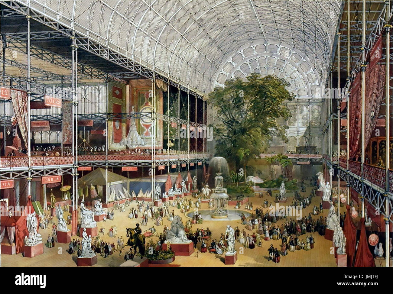 GREAT EXHIBITION 1851. The transept of the Crystal Palace from the Grand entrance as published in the souvenir book - Stock Image