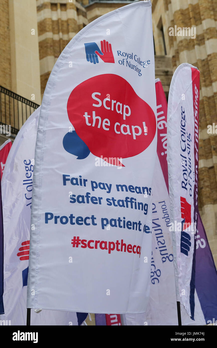 Members of the Royal College of Nursing (RCN) launches its campaign against the Government's 1 percent cap on pay - Stock Image