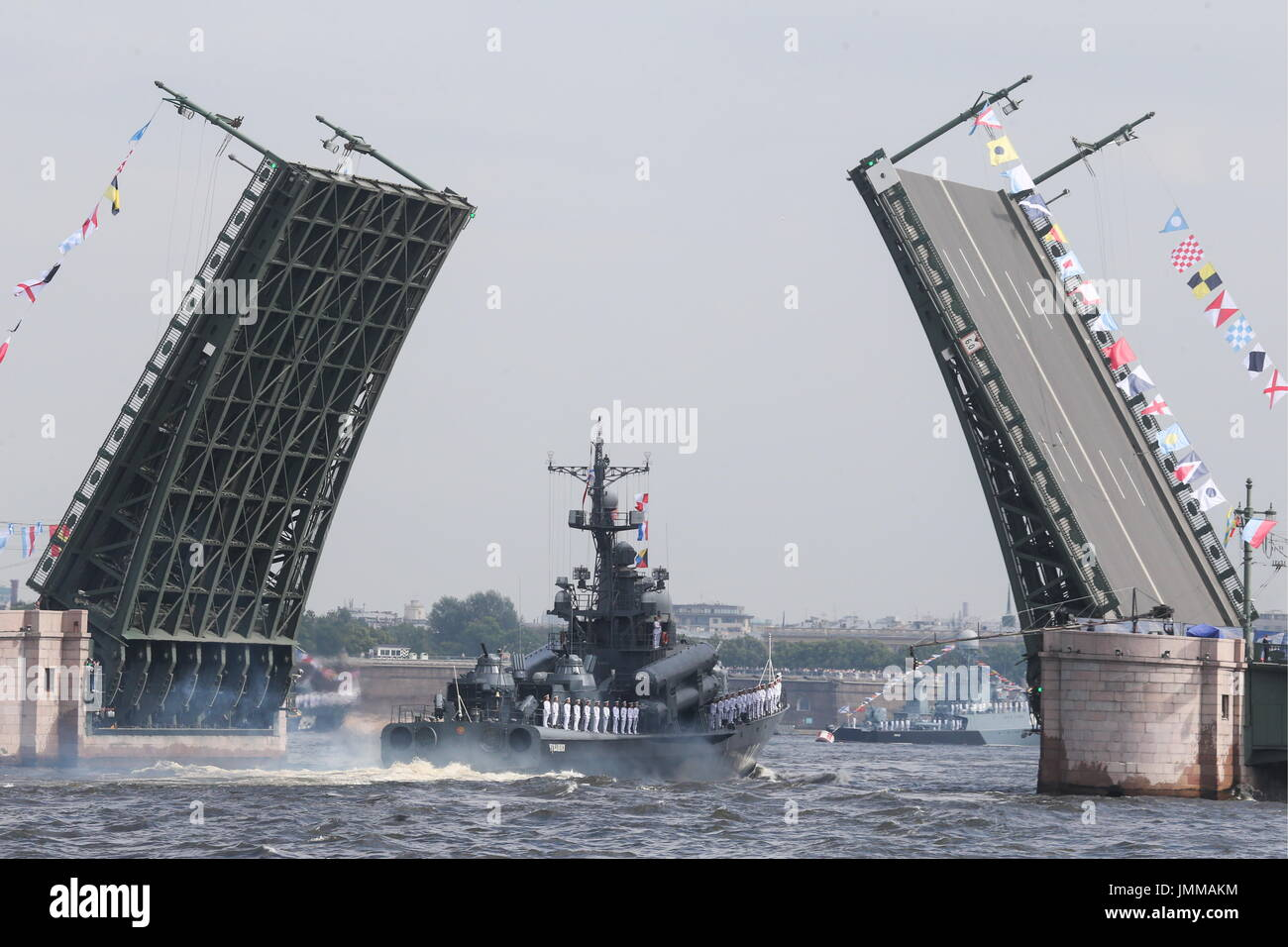 St Petersburg, Russia. 28th July, 2017. The Chuvashia missile boat takes part in a rehearsal of the upcoming Russian Stock Photo