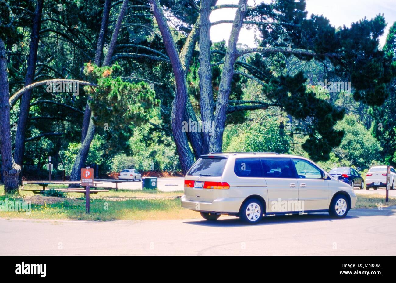 A minivan drives past picnic areas at Inspiration Point, in Tilden Regional Park, Berkeley, California, June 9, - Stock Image