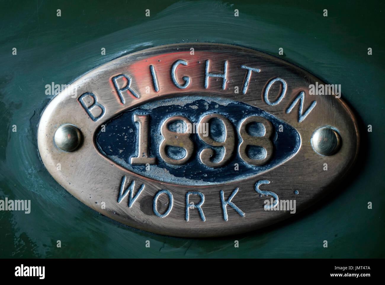 steam train date plate - Stock Image