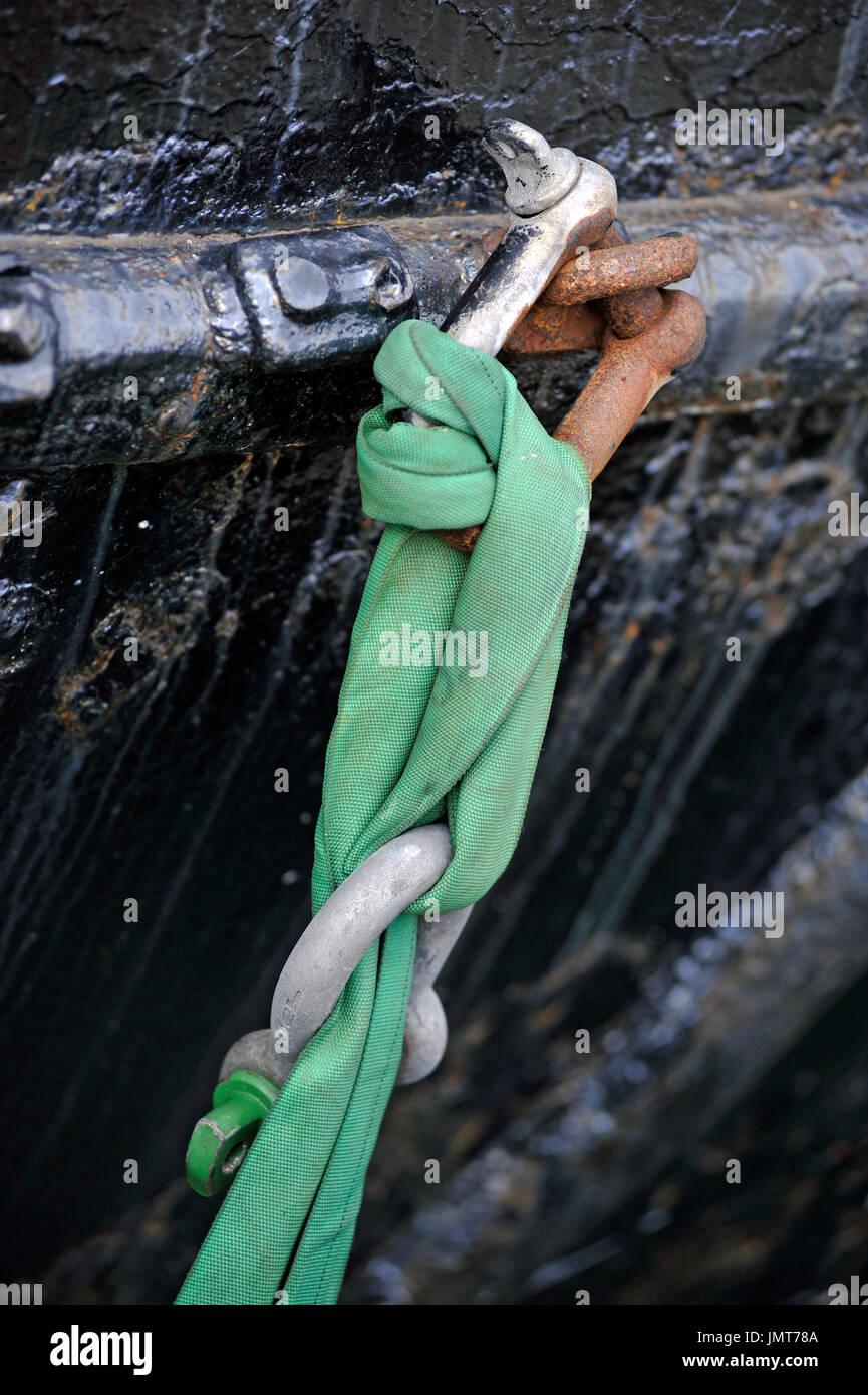mooring warp - Stock Image