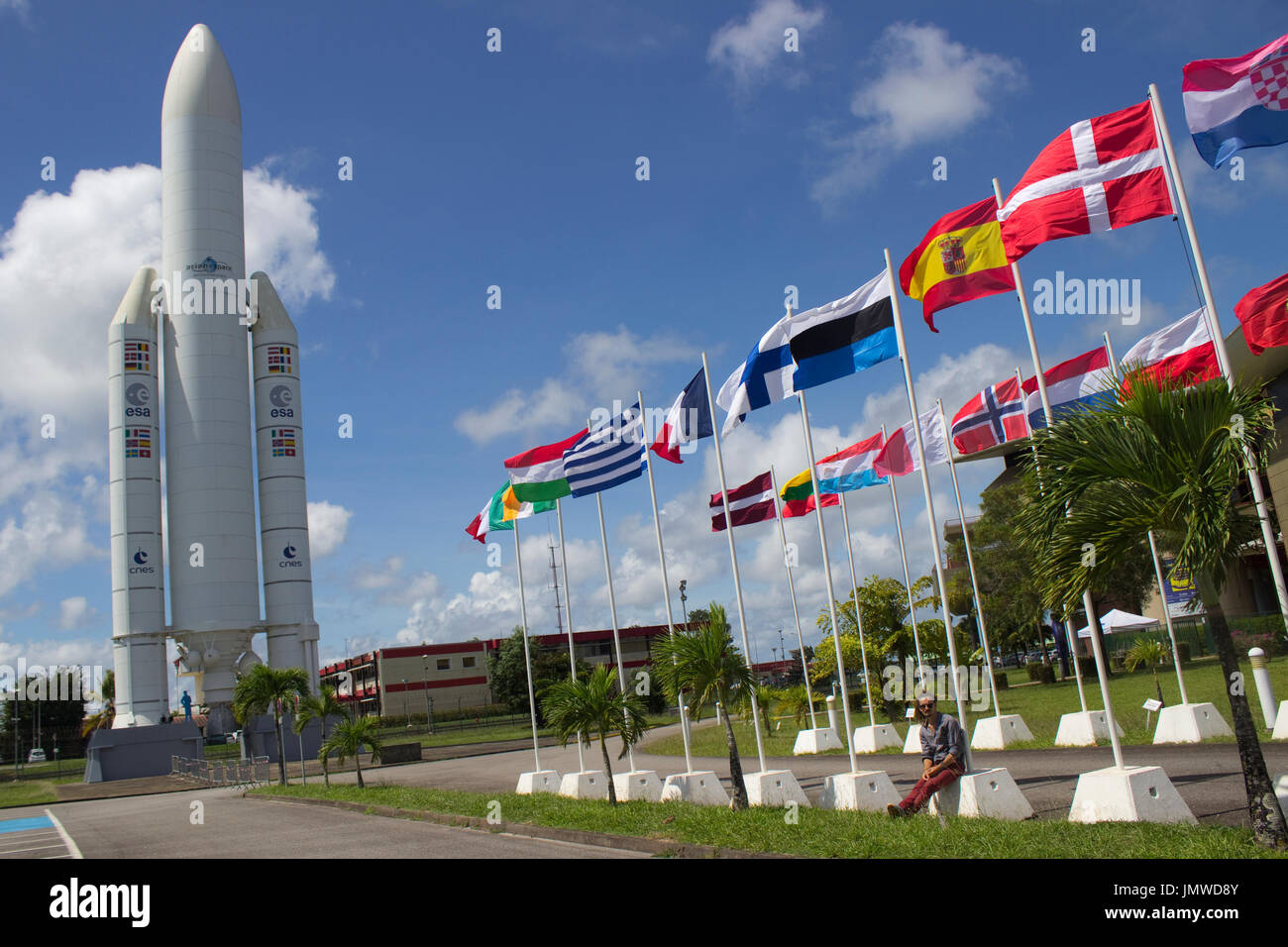 Upside down Estonian flag at the European Space Agency, French Guiana - Stock Image
