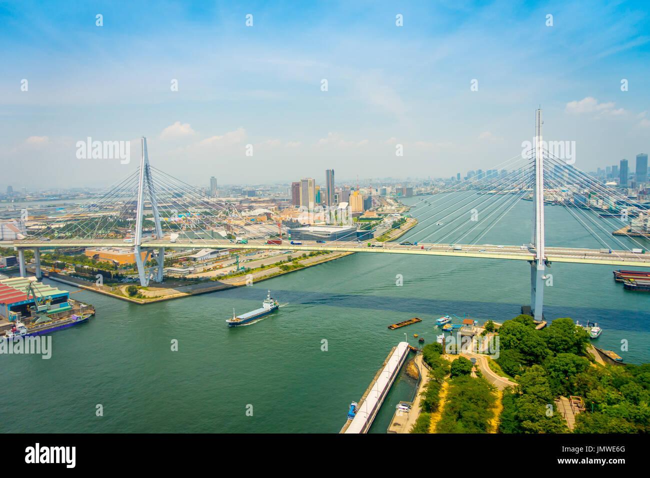 OSAKA, JAPAN - JULY 18, 2017: Beautiful view of the city of Osaka district in Osaka, Japan in a beautiful day - Stock Image