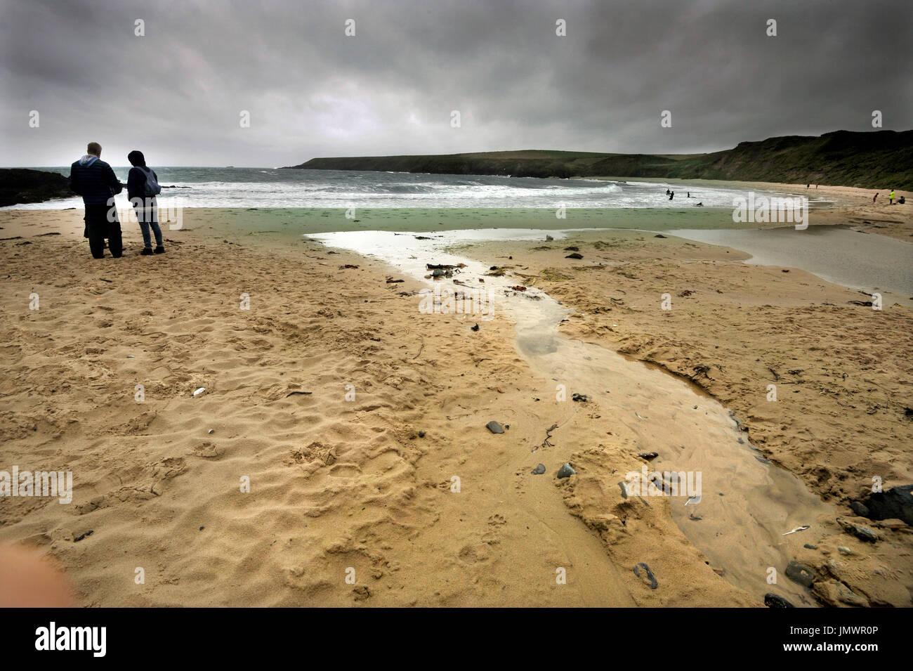 porthor beach  or whistling sands beach gwynedd wales - Stock Image