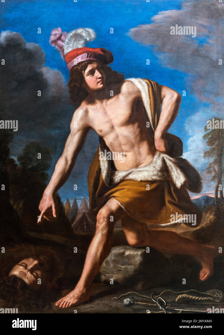 David with the Head of Goliath by Guercino (Giovanni Francesco Barbieri: 1591-1666), oil on canvas, 1657 - Stock Image