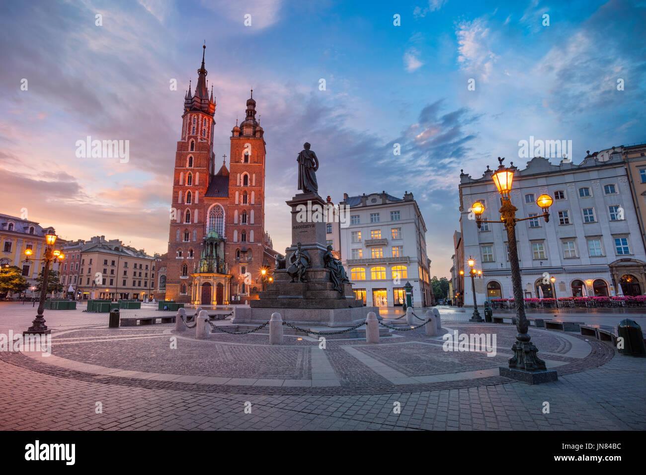 Krakow. Image of Market square Krakow, Poland during sunrise. - Stock Image
