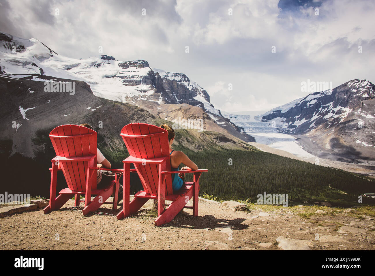 Wilcox Pass & Jasper's red chairs - Stock Image