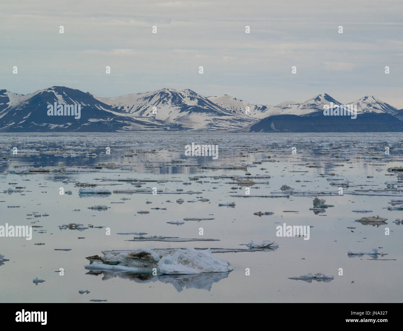 Ice floes covering waters of Storfjorden great briny bay between Spitsbergen island to the west and the islands - Stock Image