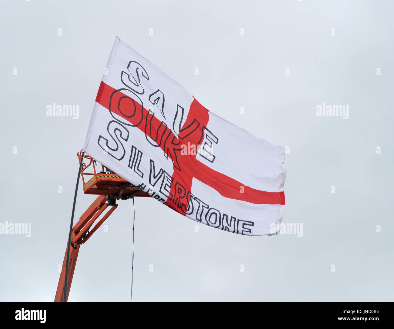 SaveOurSilverstone Flag, F1 Circuit July 2017 - Stock Image