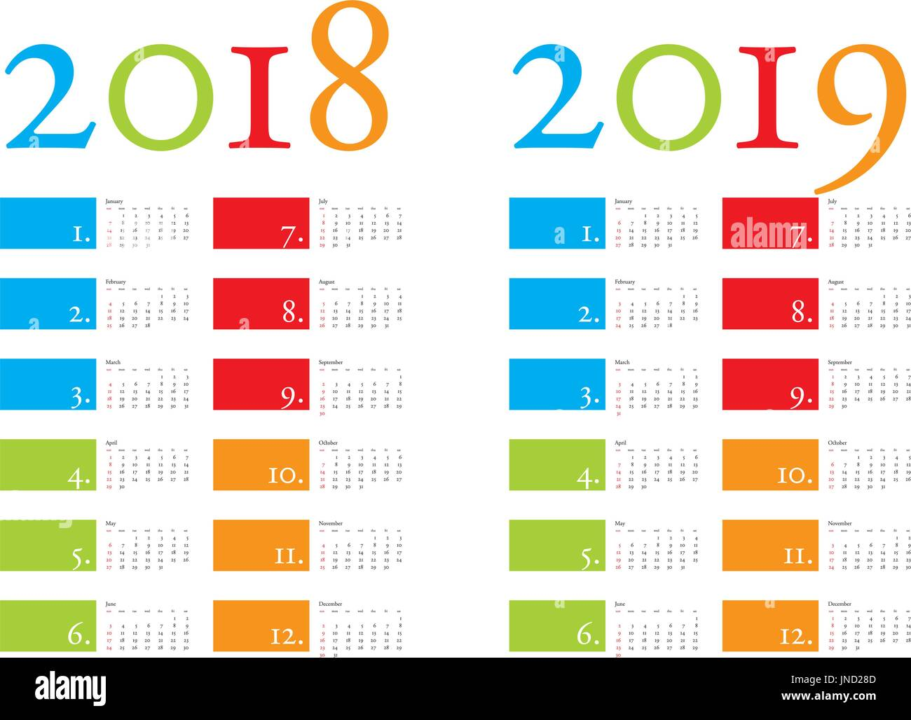 Calendar Design Eps File : Colorful and elegant calendar for years in